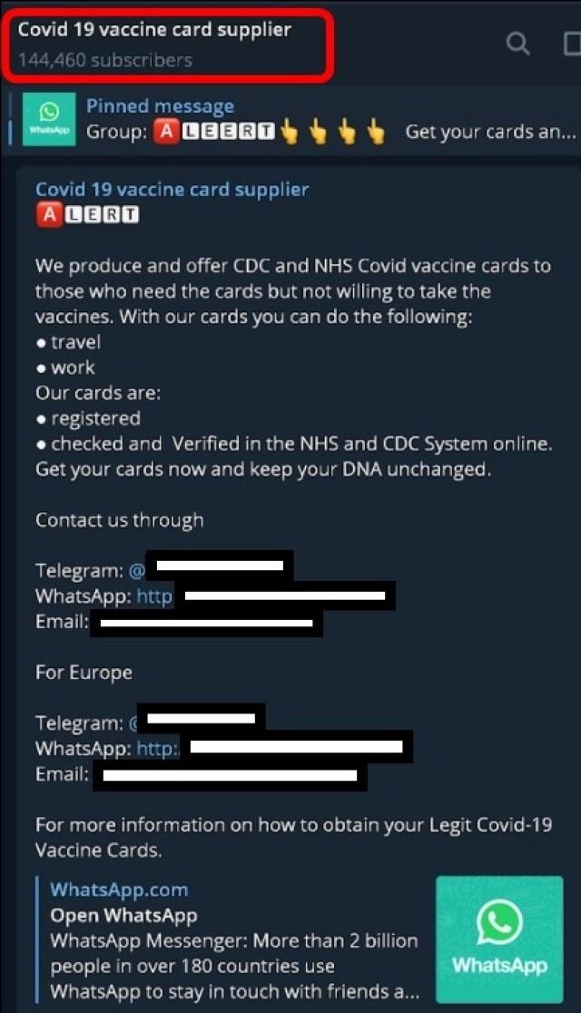 A Telegram group advertising fake vaccine card sales.
