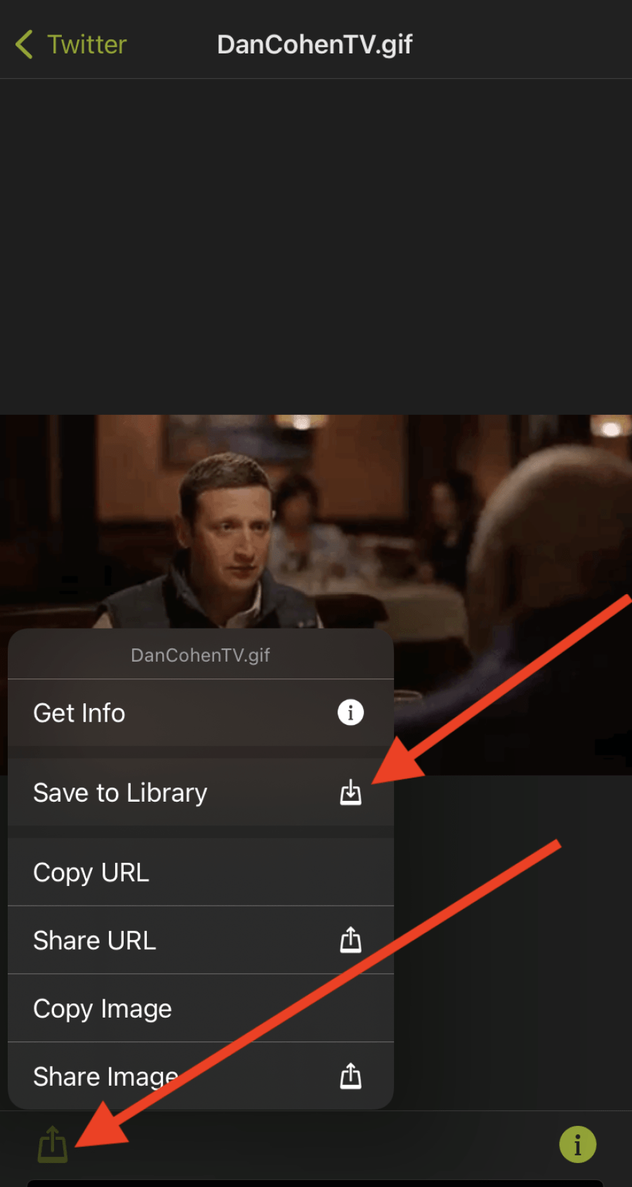 The lower arrow shows the first button you hit. The top arrow shows the button you hit to save the GIF.