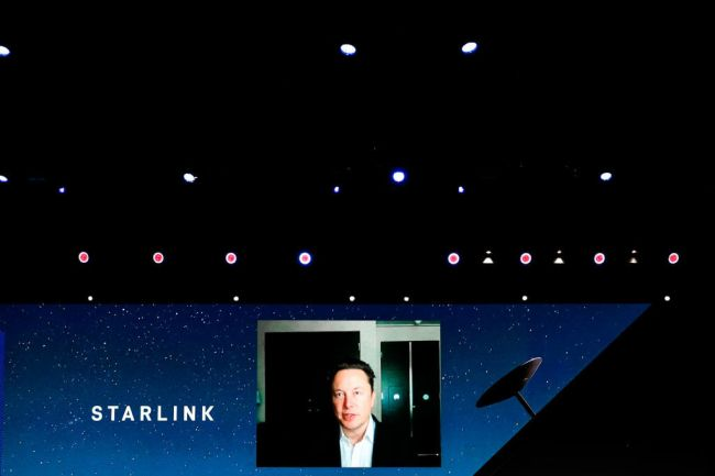 Elon Musk speaks about the Starlink project at Mobile World Congress in Barcelona.
