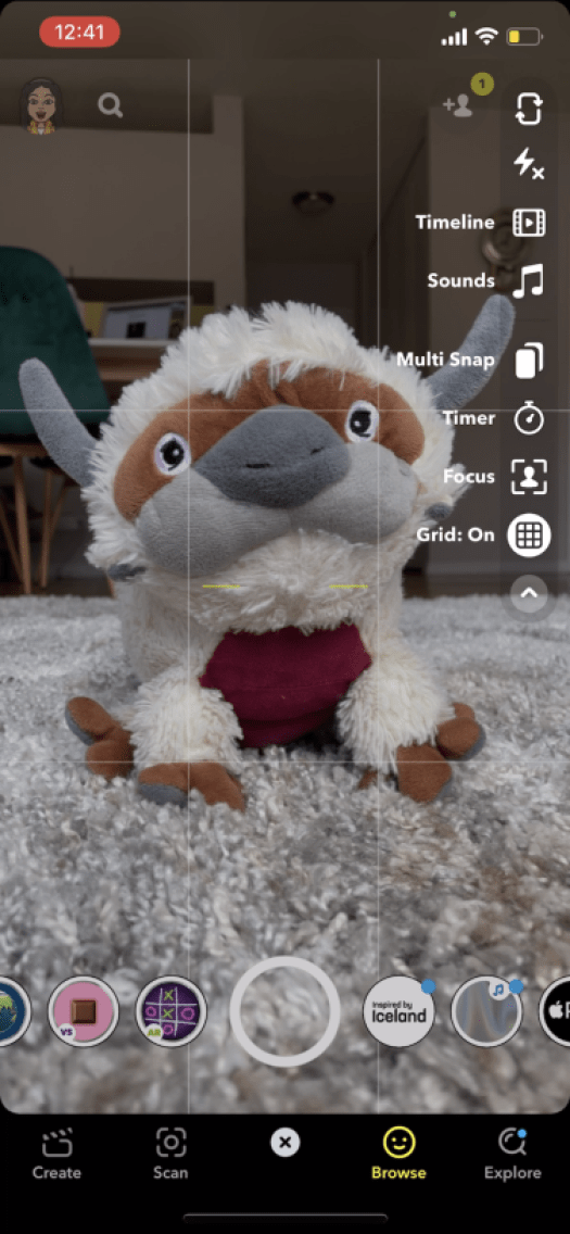 Appa perfectly centered on the grid.