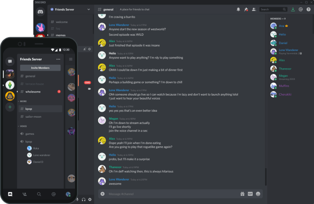 This is how a Discord server looks like on both desktop and mobile device.
