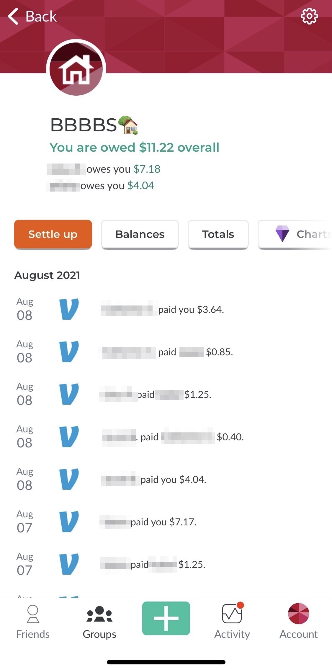 SplitWise keeps track of shared expenses.