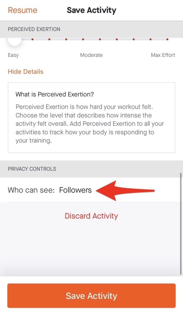 """Select """"Who can see"""" to control who can view your activity."""