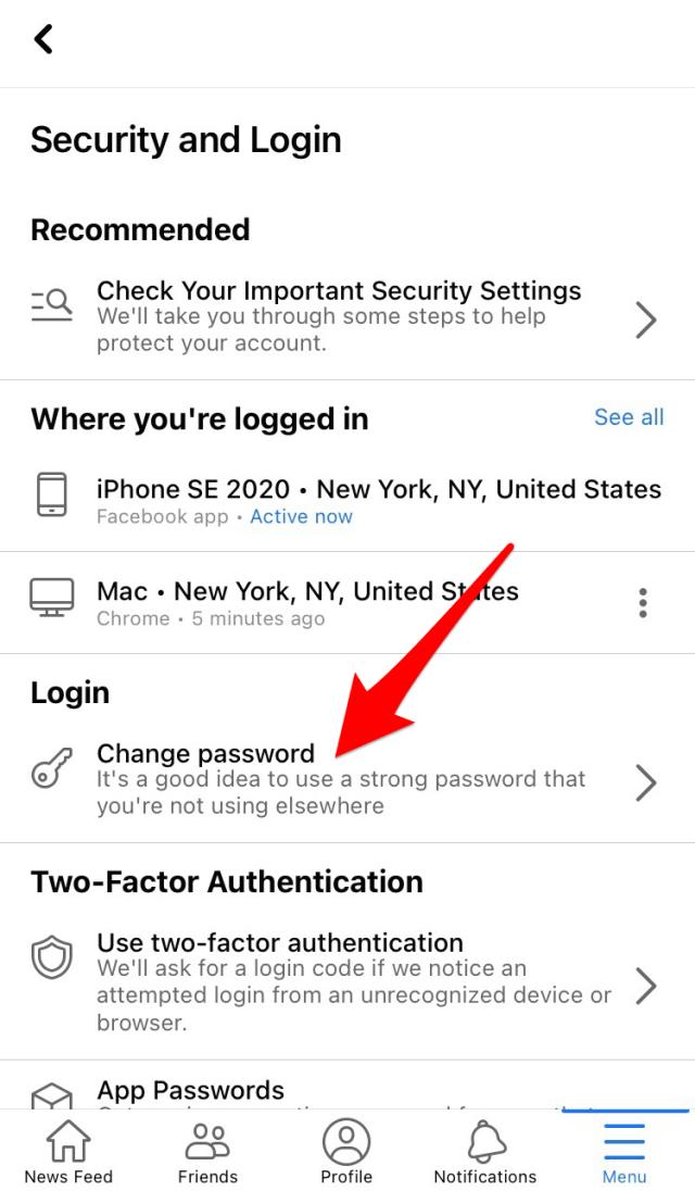 "Tap ""Change Password."""