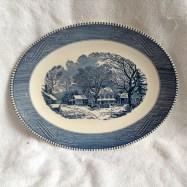"""10 x 13"""" Oval Platter """"Old Inn Winter"""""""