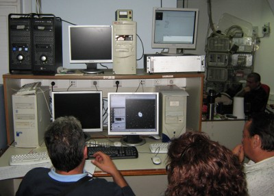Εικόνα από το χώρο ελέγχου του τηλεσκοπίου Σκίνακα
