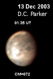 Εικόνα του D.C. Parker (2003) που δείχνει την θέλλα σκόνης στον Άρη