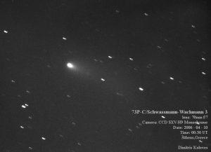 Εικόνα του 73P/Schwassmann-Wachmann-3 (κομμάτι C) στις 10 Απριλίου 2006, από τον Δημήτρη Κολοβό.