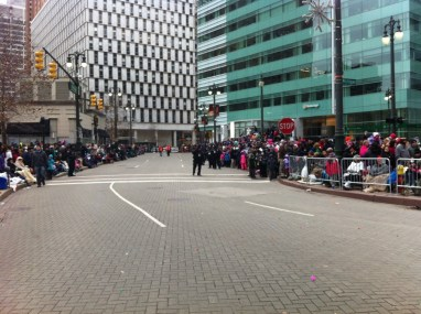 Downtown Detroit, waiting for the Thanksgiving Day parade