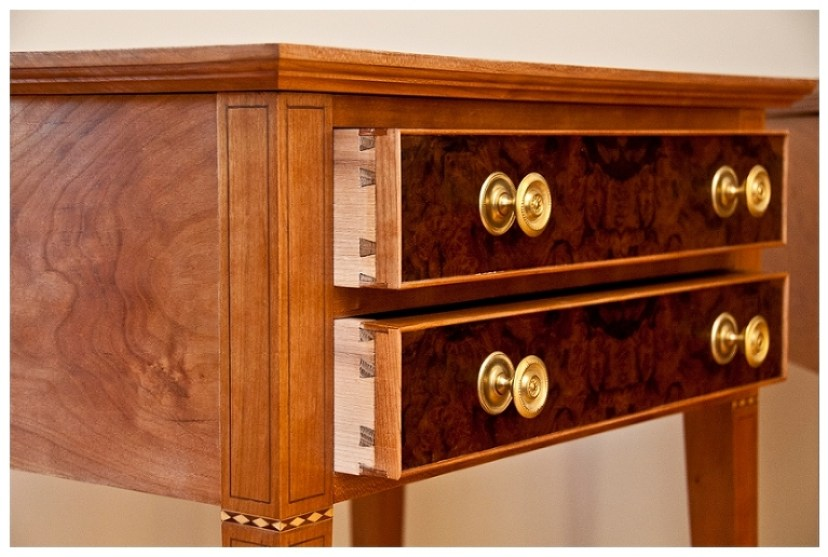Federal Hall Table   Bedside tables in the Federal Style   Two Drawer End Table   Custom Walnut Burl with Inlay   Charlottesville custom furniture   see more at www.hellerandhellerfurniture.com