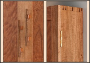 detail of cherry jewelry cabinet with bocote drawer fronts, necklace spinners