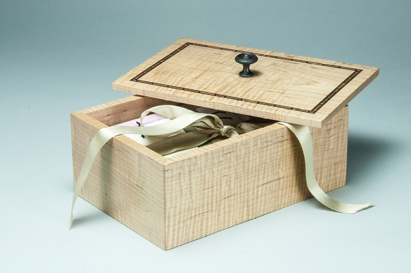 inlaid maple keepsake box for cards and momentos   Heller and Heller Furniture