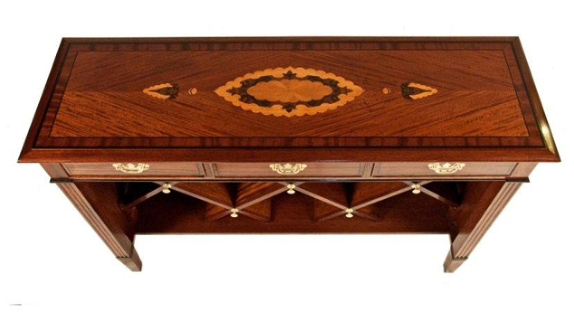 Custom wine table   marquetry pattern inspired by Tabriz carpet   Ribbon mahogany side table   Elegant living room custom furniture   See more at Heller and Heller Furniture www.hellerandhellerfurniture.com