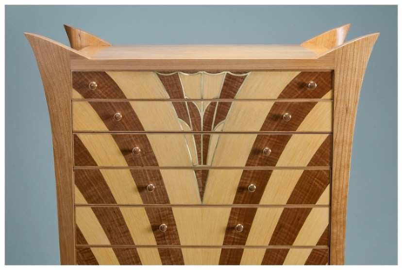Cherry Cabinet of Curiosities in an Art Deco Style | Heller and Heller Furniture