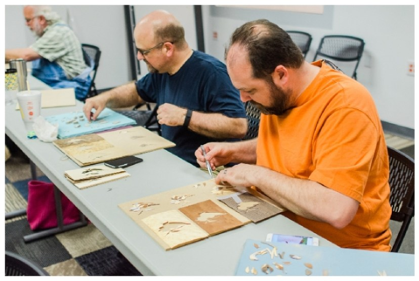 Introduction to Marquetry | Heller and Heller Furniture | students working on scroll saw marquetry during the course
