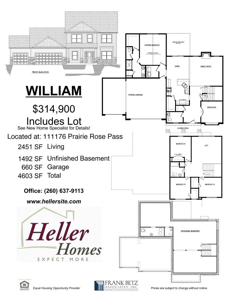 Heller Homes' handout for 69 Prairie Meadows