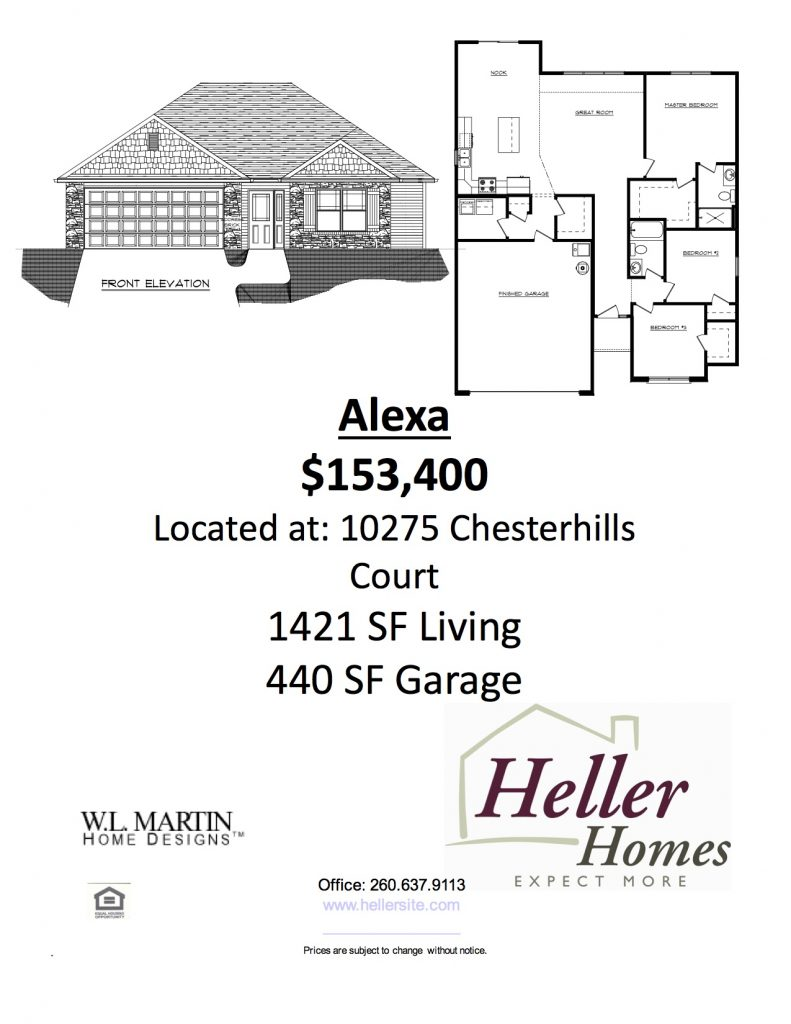 A handout from Heller Homes for 48 Greenwood Lakes