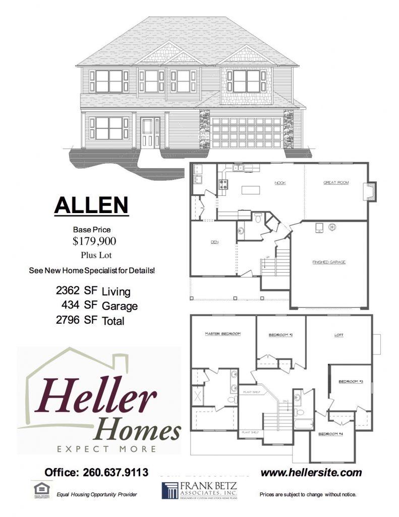 Allen Handout - Heller Homes Allen Floor Plan Handout