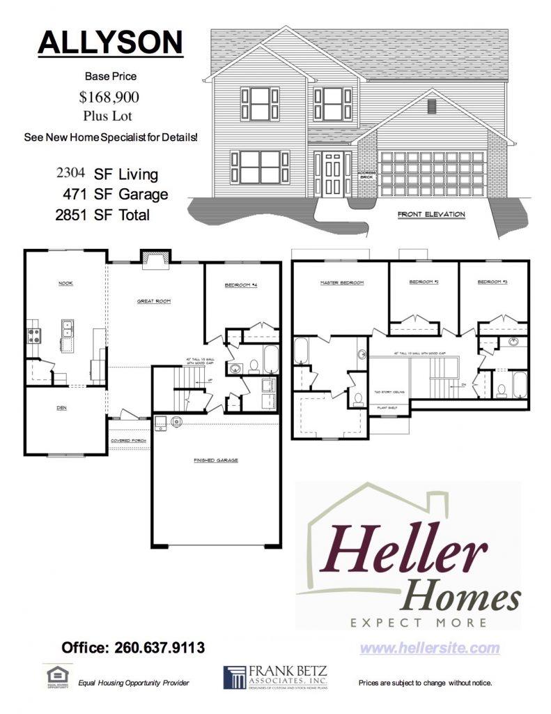 Allyson Handout - Heller Homes Allyson Floor Plan Handout