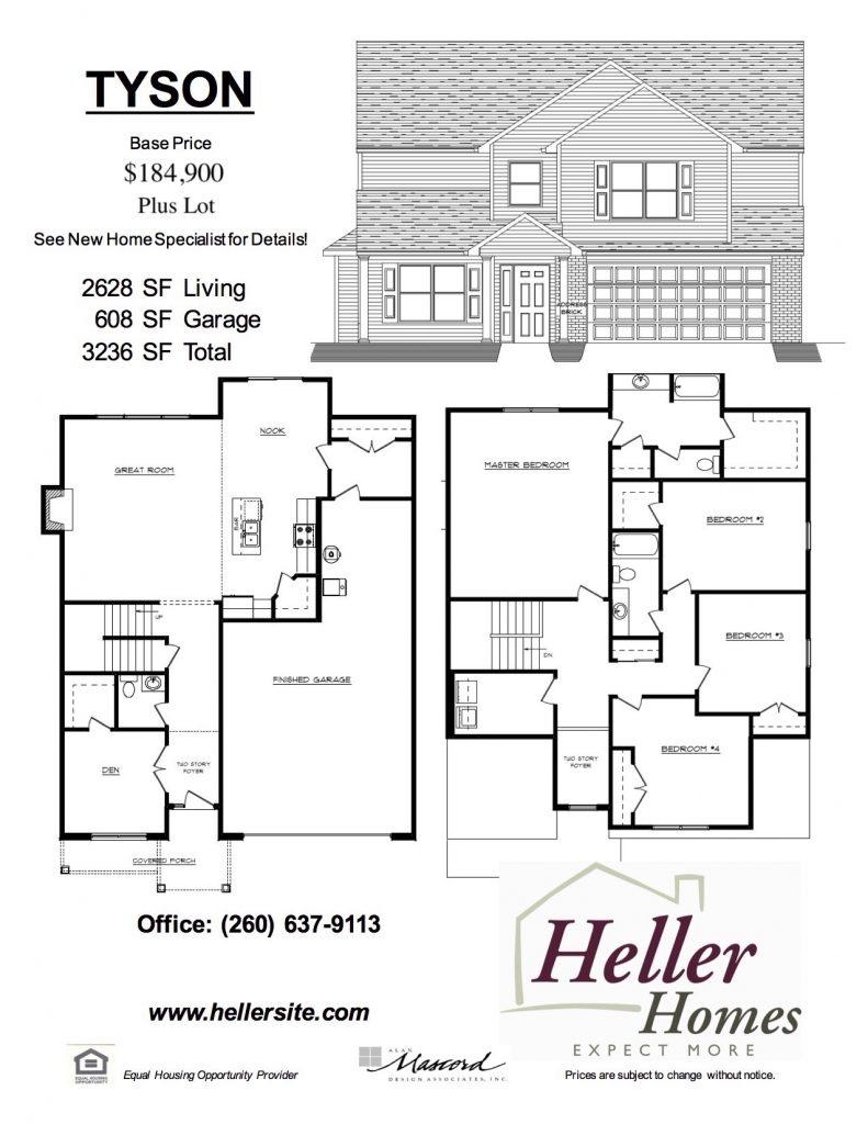 Tyson Handout - Heller Homes Tyson Floor Plan Handout