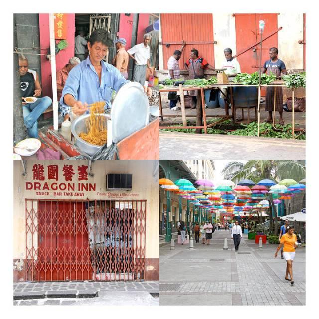 """Street Food – kinastil (ø.v), Alle mann i arbreid! Grønnsaker renses før de havner på markedet. """"Dragon Inn"""" ser mer og mer lukket ut for hver gang vi besøker byen. Kun fasaden igjen nå. (n.v) Paraplykunst på det men mer eksklusive delen av byen på Gaudan Watherfront."""