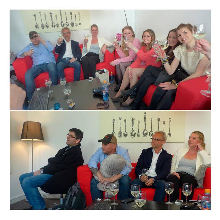 Gjengen er samlet forå se første episode: Hans Petter, Tor, Cecilie, Camilla, Ingvild, Janette, Karine. Nederst: Steve, Hans Petter, Tor og Cecilie.