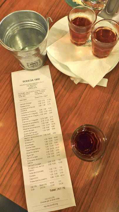 267 for tre personer med masse vermut, en flaske vin og to kvalitetskinkestykker. Ikke noe å si på.