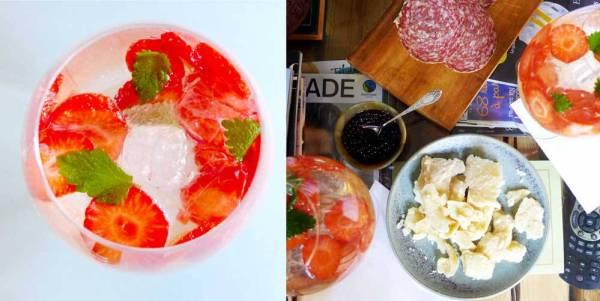 Jordbærgin inspirert av Bay Frost på Bornholm. Denne nytes sammen med 60 måneders lagret parmesan og balsamico-perler kjøpt hos Andrea Bono på Frogner.