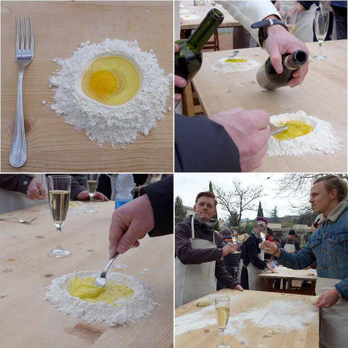 Egg, mel og gaffel. Vin og olje i deigen. Røre, røre. Drikke, drikke.