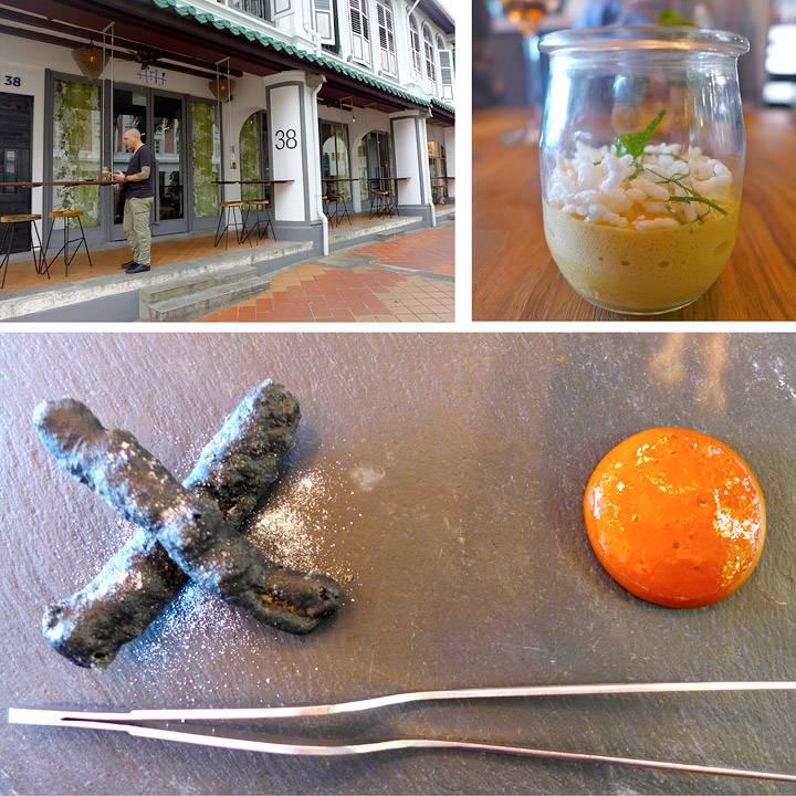 The Tippling Club er et rocka konsept med utrolig spennende mat. Her er to av rettene vi fikk før treretteren ble servert: En moderne vri av curry rice. Her med curryskum og puffet ris. Sort tempura med bakt paprika inne i servert med en røkt paprikasaus med soya. Helt magisk, og så utrolig tøft å se på!