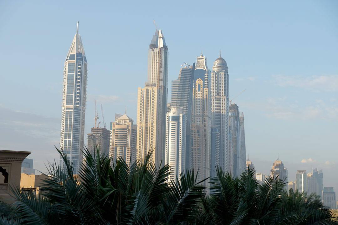 Skyskrapere i soloppgang.