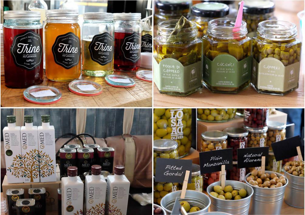 Syltetøy, sicilianske kapers, olivenoljer og oliven.