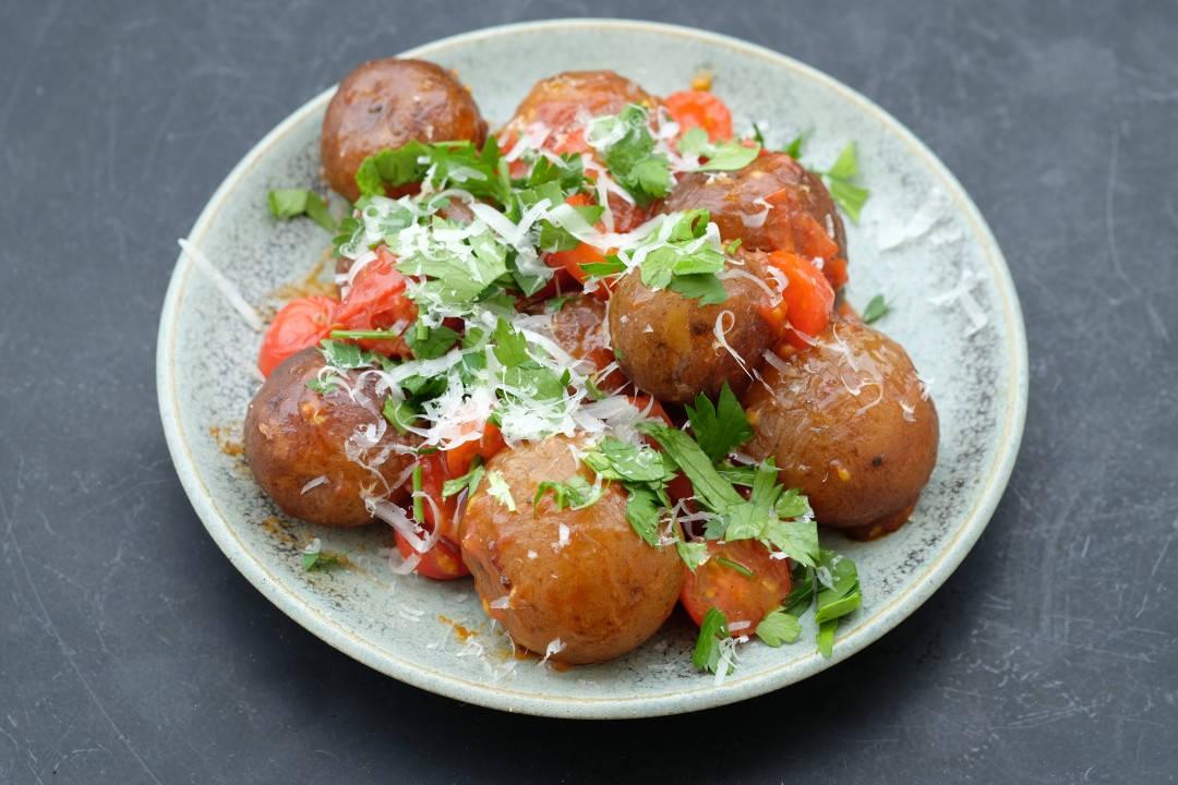 En porsjon deilige langstekte poteter.