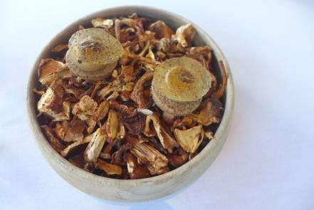 Varm kjeks med kantarellkrem og stekte kyllingvinger. Smaken bare varer og varer.