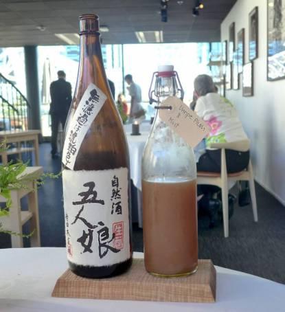 Sake Gonin Musume, Terada Honke, Katori Japan og juice av umodne plommer fra Hardanger med norsk mynte.