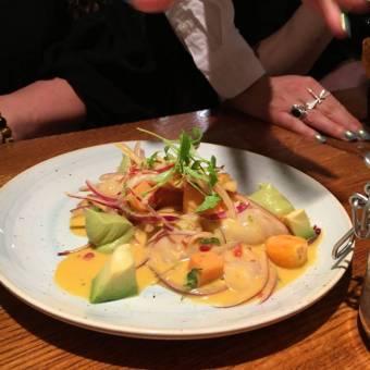 Ceviche Andina: sustainable sea bass, goldenberry, avocado, sweet potato, amarillo tiger's milk