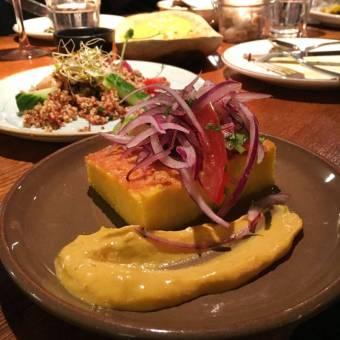 Corn Cake & Avocado: with salsa criolla