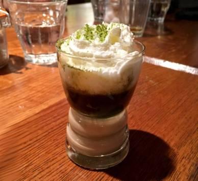 Ponja: Lucuma cream of pisco, matcha green tea, whipped cream