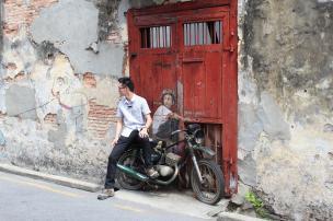 """""""Boy on a Bike"""" Mural, Ah Quee Street, George Town, Penang."""