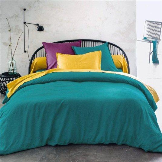 Linge de lit en lin vert