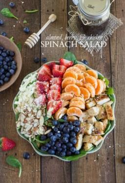 Salade Fruits Mandarine Fraise Myrtille Amandes Epinards