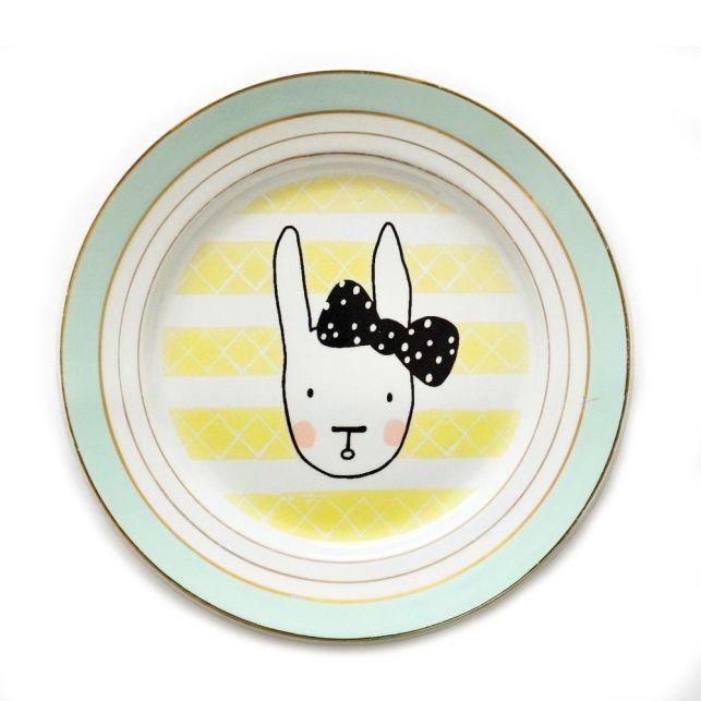 Assiette vintage lapin noeud / / Hëllø Blogzine - www.hello-hello.fr