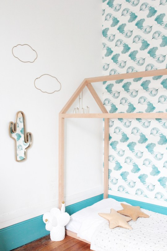 French Boy's Room Turquoise // Hëllø Blogzine blog deco & lifestyle www.hello-hello.fr #blomkal #ateliermouti #kids #kidsroom #cactus #cactusmirror #ampm #cloud