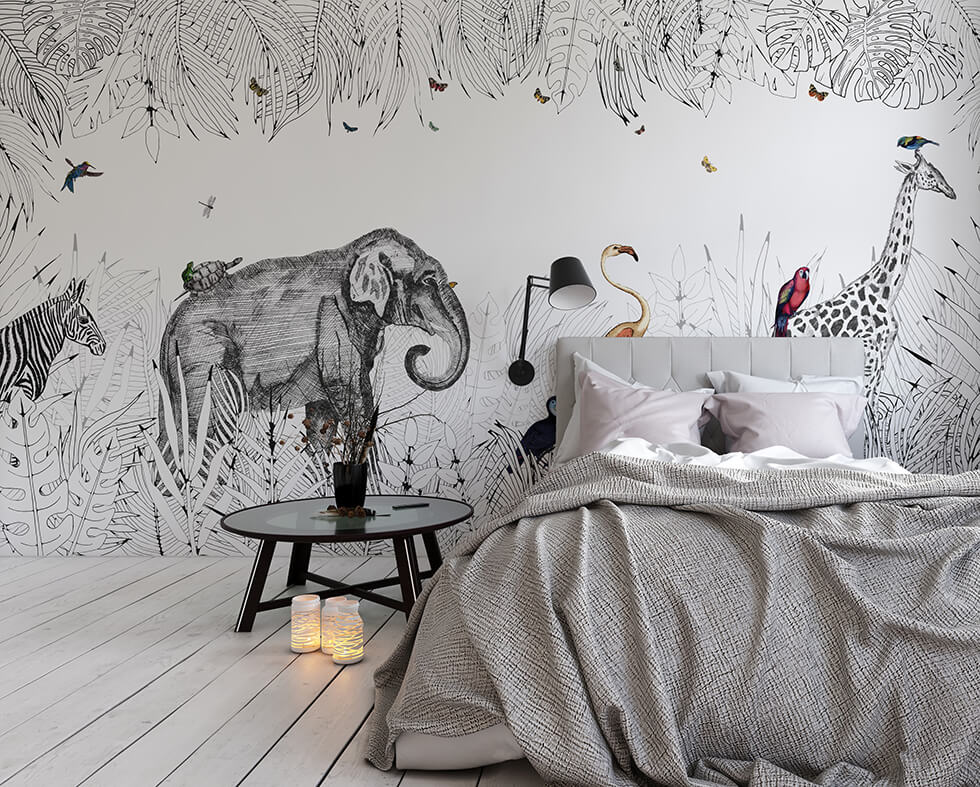 o trouver du papier peint pour faire un d cor mural. Black Bedroom Furniture Sets. Home Design Ideas