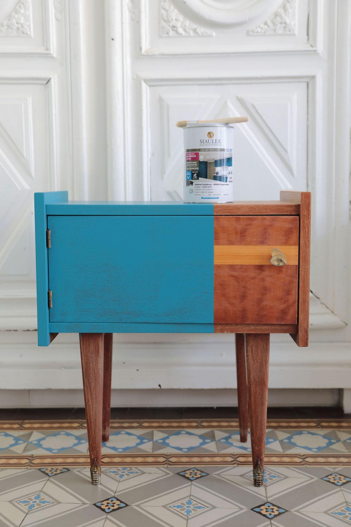 Peinture Pour Meuble En Bois Sans Decapage repeindre un meuble vintage sans le décaper et sans sous-couche