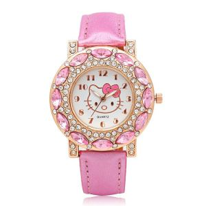 Montre Hello Kitty à facettes roses