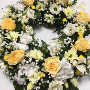 Lemon & White Classic Wreath Funeral Flowers