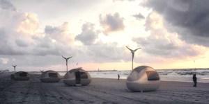 Ecocapsules on the beach.