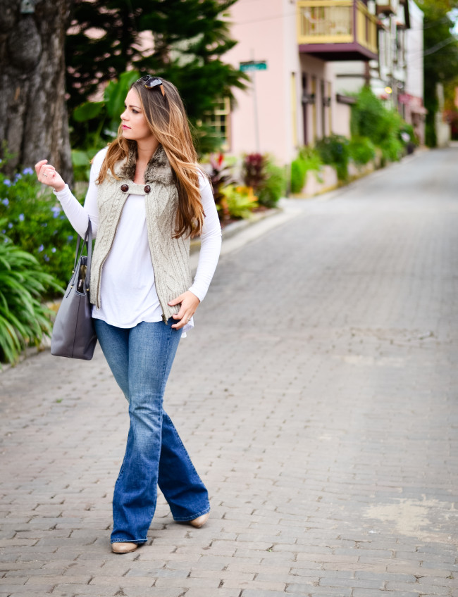 Furry Vest and Flare Jeans-1