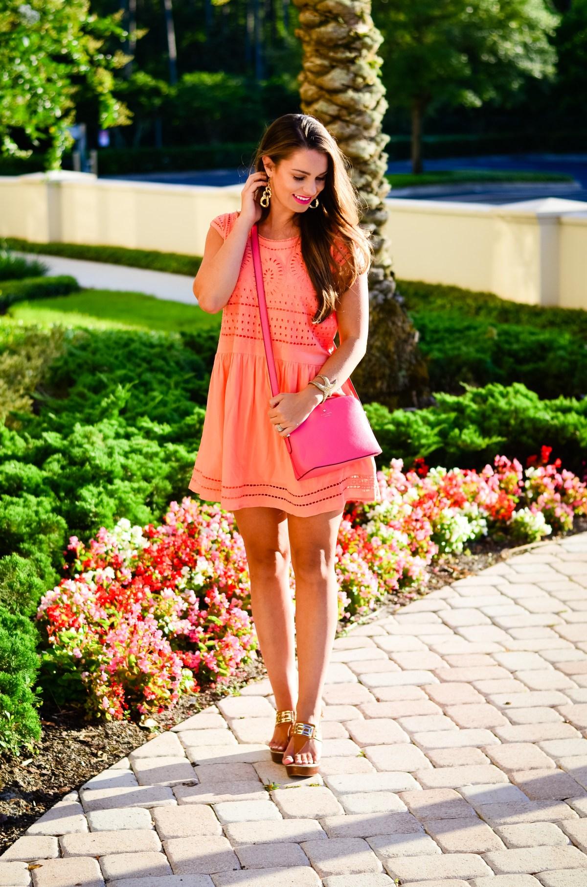 coral crochet dress-16